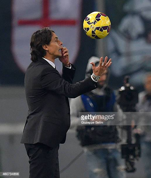 Filippo Inzaghi head coach of AC Milan during the Serie A match betweeen AS Roma and AC Milan at Stadio Olimpico on December 20 2014 in Rome Italy