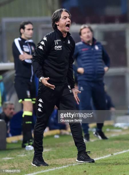 Filippo Inzaghi head coach of Benevento Calcio during the Serie B match between Benevento Calcio and Crotone FC at Stadio Ciro Vigorito on November...