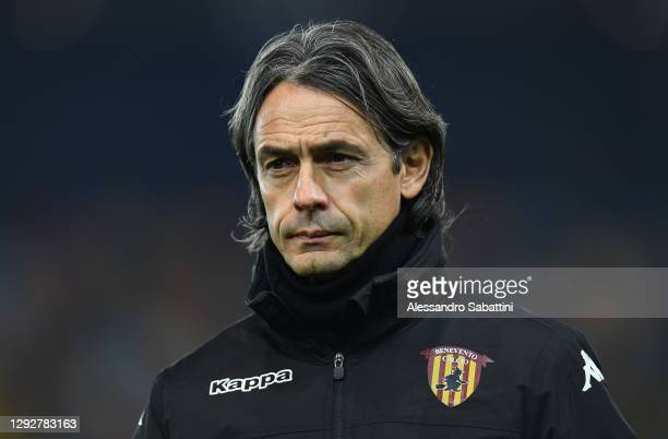 Filippo Inzaghi head coach of Benevento Calcio looks on during the Serie A match between Udinese Calcio and Benevento Calcio at Dacia Arena on...