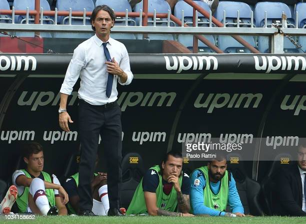 Filippo Inzaghi head coach of Bologna during the serie A match between Genoa CFC and Bologna FC at Stadio Luigi Ferraris on September 16 2018 in...