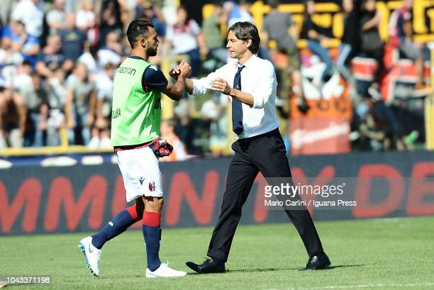 Filippo Inzaghi head coach of Bologna FC celebrates with his players at the end of the Serie A match between Bologna FC and Udinese at Stadio Renato...