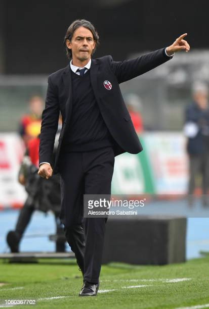 Filippo Inzaghi head coach of Bologna FC gestures during the Serie A match between Chievo Verona and Bologna FC at Stadio Marc'Antonio Bentegodi on...