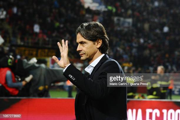 Filippo Inzaghi head coach of Bologna FC gestures prior the beginning of the Serie A match between Bologna FC and Atalanta BC at Stadio Renato...