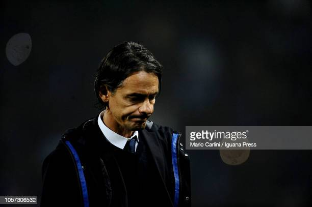 Filippo Inzaghi head coach of Bologna FC looks dejected at the end of the Serie A match between Bologna FC and Atalanta BC at Stadio Renato Dall'Ara...