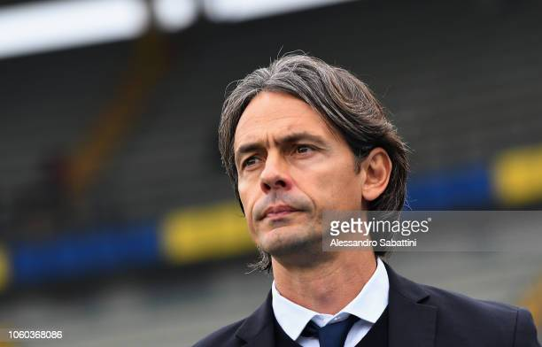 Filippo Inzaghi head coach of Bologna FC looks on before the Serie A match between Chievo Verona and Bologna FC at Stadio Marc'Antonio Bentegodi on...