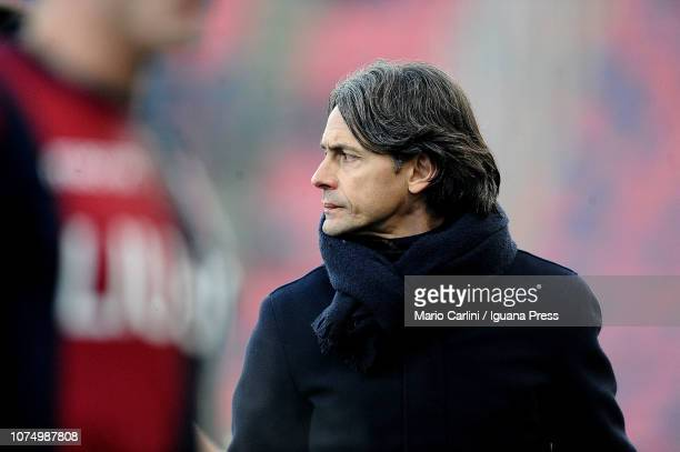 Filippo Inzaghi head coach of Bologna FC looks on during the Serie A match between Bologna FC and SS Lazio at Stadio Renato Dall'Ara on December 26...
