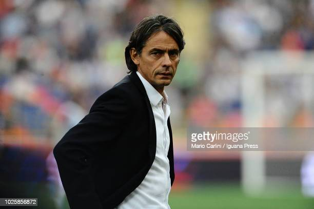 Filippo Inzaghi head coach of Bologna FC looks on prior the serie A match between Bologna FC and FC Internazionale at Stadio Renato Dall'Ara on...