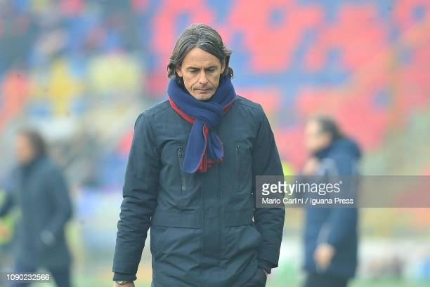 Filippo Inzaghi head coach of Bologna FC reacts during the half time break of the Serie A match between Bologna FC and Frosinone Calcio at Stadio...