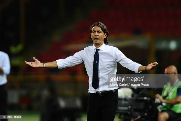 Filippo Inzaghi head coach of Bologna FC reacts during the serie A match between Bologna FC and SPAL at Stadio Renato Dall'Ara on August 19 2018 in...