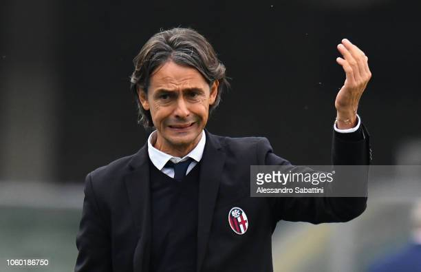 Filippo Inzaghi head coach of Bologna FC reacts during the Serie A match between Chievo Verona and Bologna FC at Stadio Marc'Antonio Bentegodi on...
