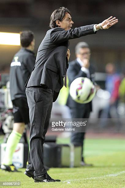 Filippo Inzaghi head coach of Empoli FC gestures during the Serie A match between Empoli FC and AC Milan at Stadio Carlo Castellani on September 23...