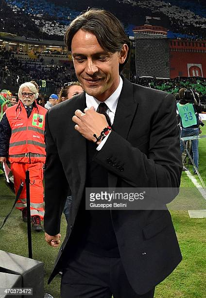 Filippo Inzaghi head coach of Milan before the Serie A match between FC Internazionale Milano and AC Milan at Stadio Giuseppe Meazza on April 19 2015...