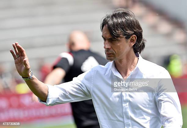 Filippo Inzaghi head coach of Milan before the Serie A match between US Sassuolo Calcio and AC Milan on May 17 2015 in Reggio nell'Emilia Italy