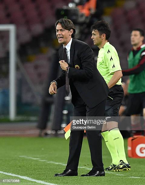 Filippo Inzaghi head coach of Milan during the Serie A match between SSC Napoli and AC Milan at Stadio San Paolo on May 3 2015 in Naples Italy