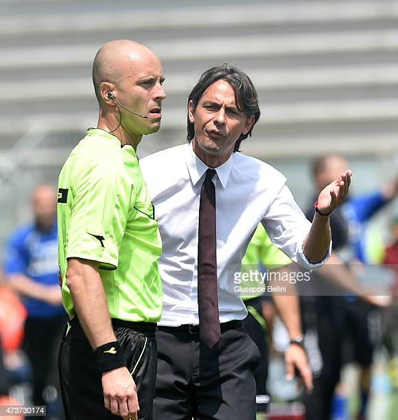 Filippo Inzaghi head coach of Milan reacts during the Serie A match between US Sassuolo Calcio and AC Milan on May 17 2015 in Reggio nell'Emilia Italy