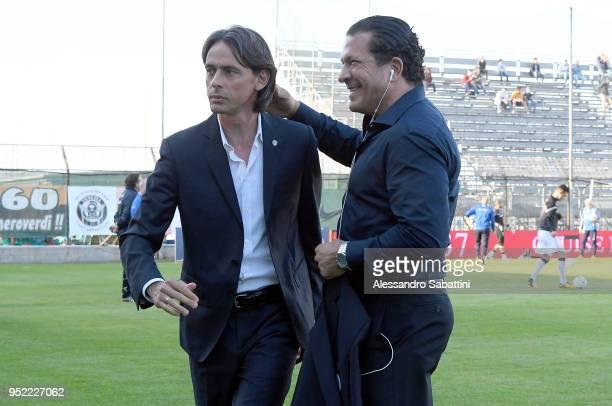 Filippo Inzaghi head coach of Venezia FC embraces Joe Tacopina president of Venezia FC before the serie B match between Venezia FC and US Citta di...