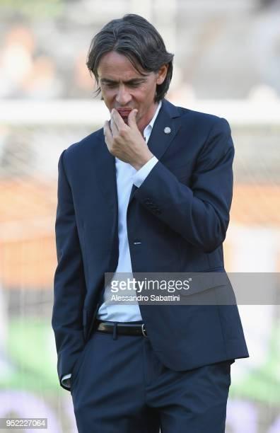 Filippo Inzaghi head coach of Venezia FC looks on before the serie B match between Venezia FC and US Citta di Palermo at Stadio Pier Luigi Penzo on...