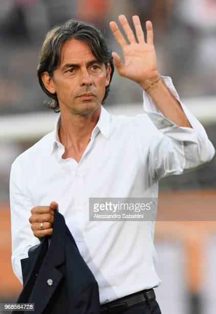 Filippo Inzaghi head coach of Venezia FC looks on before the serie B playoff match between Venezia FC and US Citta di Palermo at Stadio Pier Luigi...