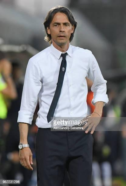 Filippo Inzaghi head coach of Venezia FC looks on during the serie B match between Venezia FC and US Citta di Palermo at Stadio Pier Luigi Penzo on...