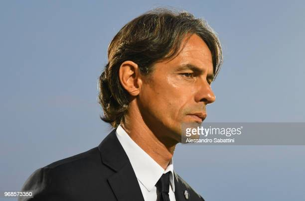Filippo Inzaghi head coach of Venezia FC looks on during the serie B playoff match between Venezia FC and US Citta di Palermo at Stadio Pier Luigi...