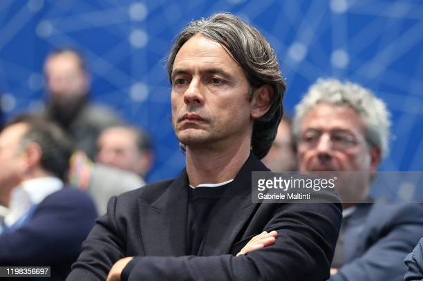"Filippo Inzaghi manager of Benevento Calcio during the ""Panchina D'Oro Prize"" award at Centro Tecnico Federale di Coverciano on February 3, 2020 in..."