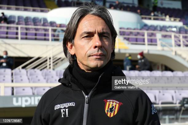 Filippo Inzaghi manager of Benevento Calcio looks on during the Serie A match between ACF Fiorentina and Benevento Calcio at Stadio Artemio Franchi...