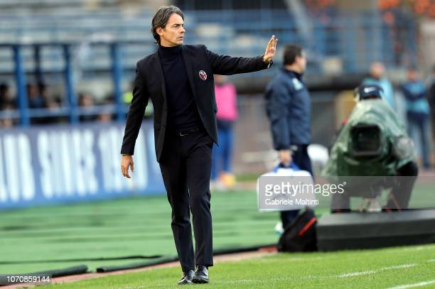 Filippo Inzaghi manager of Bologna FC gestures during the Serie A match between Empoli and Bologna FC at Stadio Carlo Castellani on December 9 2018...