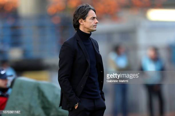 Filippo Inzaghi manager of Bologna FC looks on during the Serie A match between Empoli and Bologna FC at Stadio Carlo Castellani on December 9 2018...