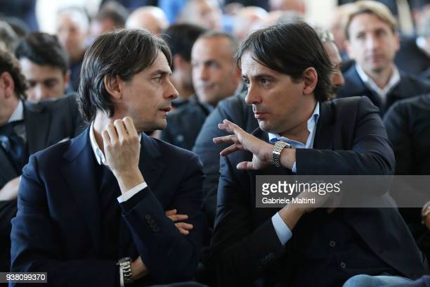 Filippo Inzaghi manager of VeneziaMestre Calcio and Simone Inzaghi manager of SS Lazio FIGC during the Italian Football Federation 'Panchine D'Oro E...