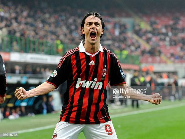 Filippo Inzaghi of AC Milan after scoring an equalising goal during the Serie A match between AC Milan and SSC Napoli at Stadio Giuseppe Meazza on...