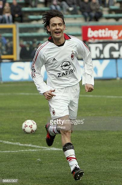 Filippo Inzaghi of AC Milan celebrates after scoring during the Serie A match between Reggina and AC Milan at Stadio Oreste Granillo on February 12...