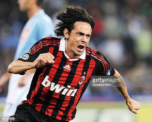 Filippo Inzaghi of AC Milan celebrates after scoring the first goal during the Serie A match between SSC Napoli and AC Milan at Stadio San Paolo on...