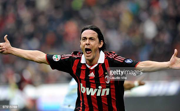 Filippo Inzaghi of AC Milan celebrates after the first goal during the Serie A match between AC Milan and SSC Napoli at Stadio Giuseppe Meazza on...