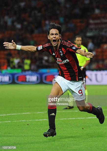 Filippo Inzaghi of AC Milan celebrates his goal during the Serie A match between AC Milan and US Lecce at Stadio Giuseppe Meazza on August 29, 2010...