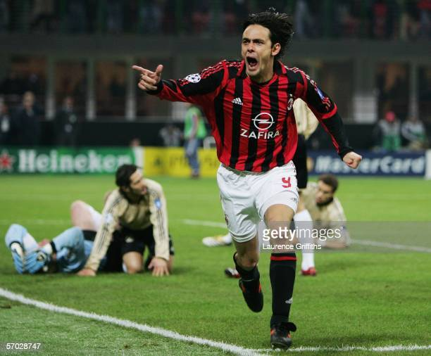 Filippo Inzaghi of AC Milan celebrates scoring during the First Knock-Out Round Second Leg match between AC Milan and Bayern Munich at the San Siro...