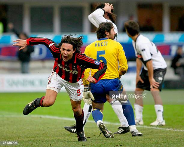 Filippo Inzaghi of AC Milan celebrates scoring during the Serie A match between AC Milan and Parma at Stadio Giuseppe Meazza January 28 2007 in Milan...