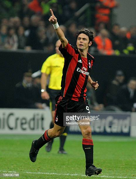 Filippo Inzaghi of AC Milan celebrates scoring his team's second goal during the Uefa Champions League group G match between AC Milan and Real Madrid...