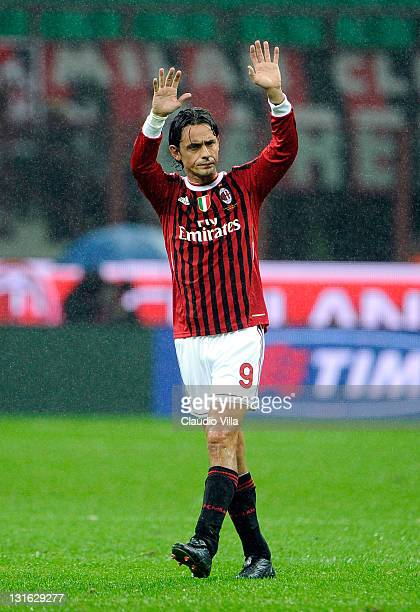 Filippo Inzaghi of AC Milan during the Serie A match between AC Milan and Catania Calcio at Stadio Giuseppe Meazza on November 6 2011 in Milan Italy