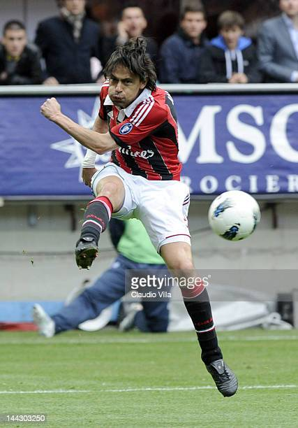 Filippo Inzaghi of AC Milan during the Serie A match between AC Milan and Novara Calcio at Stadio Giuseppe Meazza on May 13 2012 in Milan Italy