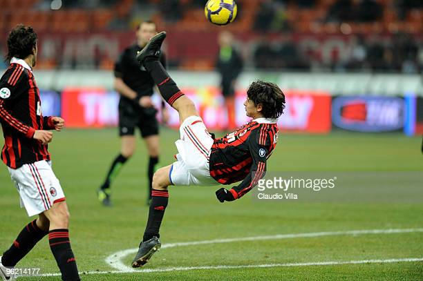 Filippo Inzaghi of AC Milan during the Tim Cup match between Milan and Udinese at Stadio Giuseppe Meazza on January 27 2010 in Milan Italy