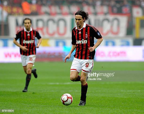 Filippo Inzaghi of AC Milan in action during the Serie A match between AC Milan and SSC Napoli at Stadio Giuseppe Meazza on March 21 2010 in Milan...