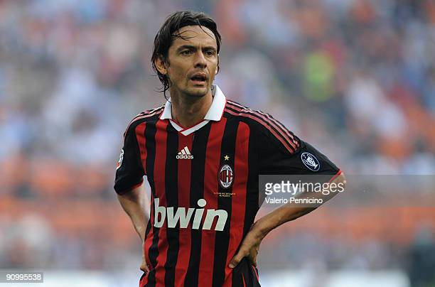 Filippo Inzaghi of AC Milan looks during the Serie A match between AC Milan and Bologna FC at Stadio Giuseppe Meazza on September 20 2009 in Milan...