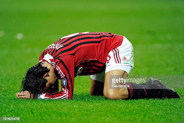 Filippo Inzaghi of AC Milan reacts during the Serie A match between AC Milan and Catania Calcio at Stadio Giuseppe Meazza on November 6 2011 in Milan...