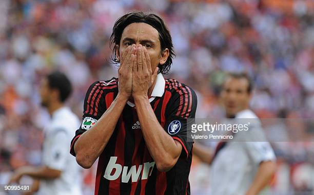 Filippo Inzaghi of AC Milan reacts during the Serie A match between AC Milan and Bologna FC at Stadio Giuseppe Meazza on September 20 2009 in Milan...