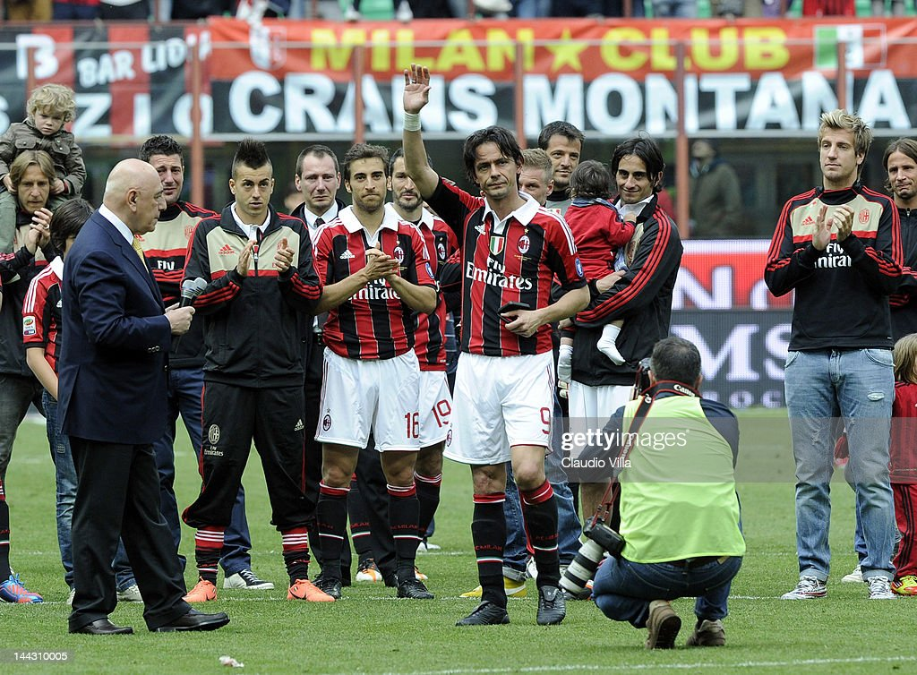 Filippo Inzaghi of AC Milan salutes the fans after his last game for AC Milan after the Serie A match between AC Milan and Novara Calcio at Stadio Giuseppe Meazza on May 13, 2012 in Milan, Italy.
