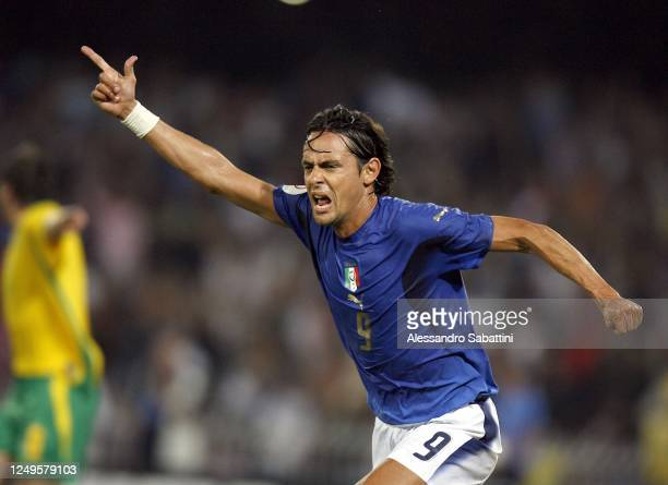 Filippo Inzaghi of Italy celebrates after scoring the goal during the Fifa World Cup 2006 , Germany.