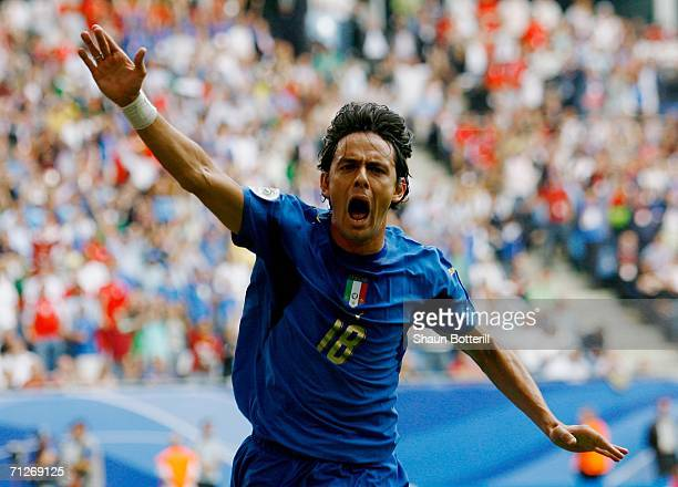 Filippo Inzaghi of Italy celebrates scoring his team's second goal during the FIFA World Cup Germany 2006 Group E match between Czech Republic and...
