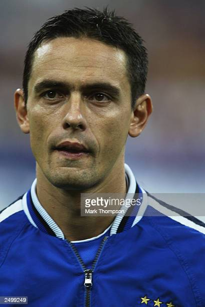 Filippo Inzaghi of Italy during the team line up during the Euro 2004 Qualifying Group 9 match between Italy and Wales on September 6 2003 at the San...