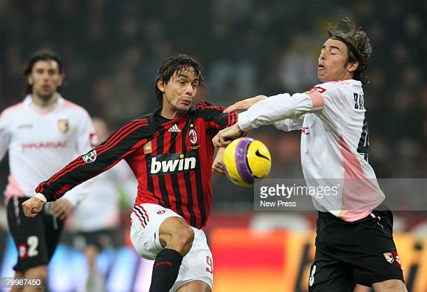 Filippo Inzaghi of Milan and Andrea Barzagli of Palermo in action during the Serie A match between Milan and Palermo at the Stadio San Siro on...