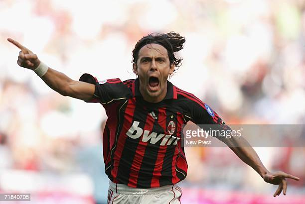 Filippo Inzaghi of Milan celebrates a goal during the Serie A match between AC Milan and Lazio held at Stadio Guiseppe Meazza San Siro on September...